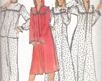 Vintage 1970's Butterick 5659 Pajamas, Nightgown & Robe With Hoodie Sewing Pattern Size 14 Bust 36""