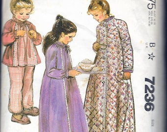 """Vintage 1980 McCall's 7236 Girl's Robe, Nightgown and Pajamas Sewing Pattern Size Small 6-8 Breast 25""""-27"""""""