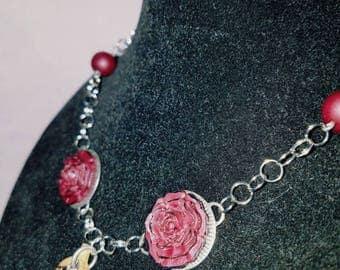 Handmade Crimson Rose Polymer Clay Necklace, Silver Chain Necklace, Polymer Clay Leaf Necklace