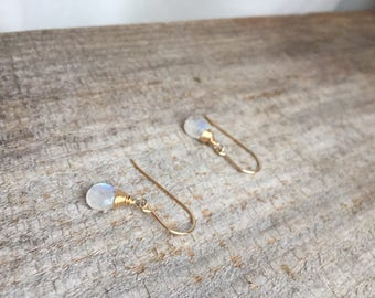 June Birthstone|Moonstone Gold Earrings|14K Gold Fill|DaintyEarrings