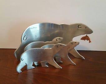 Hallmark Aluminum Polar Bears - Large Bear with Fish & 3 Bear Cubs