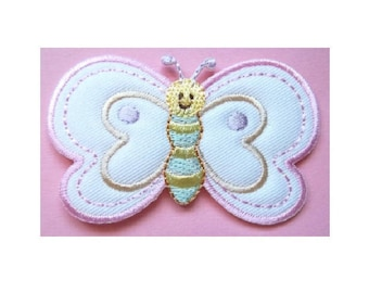 Butterfly - Insect - Baby - Pastels - Embroidered Iron On Applique Patch