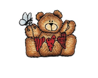 Bear- Heart - Butterfly - Teddy Bear - Embroidered Iron On Applique Patch