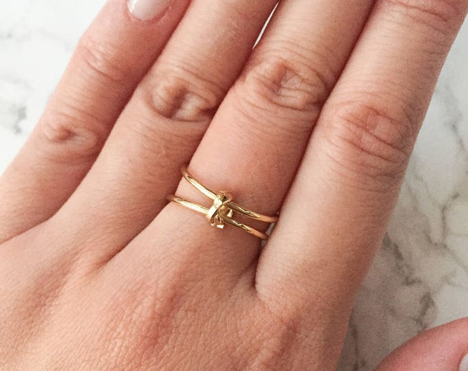 Double Gold Knot Ring - Adjustable