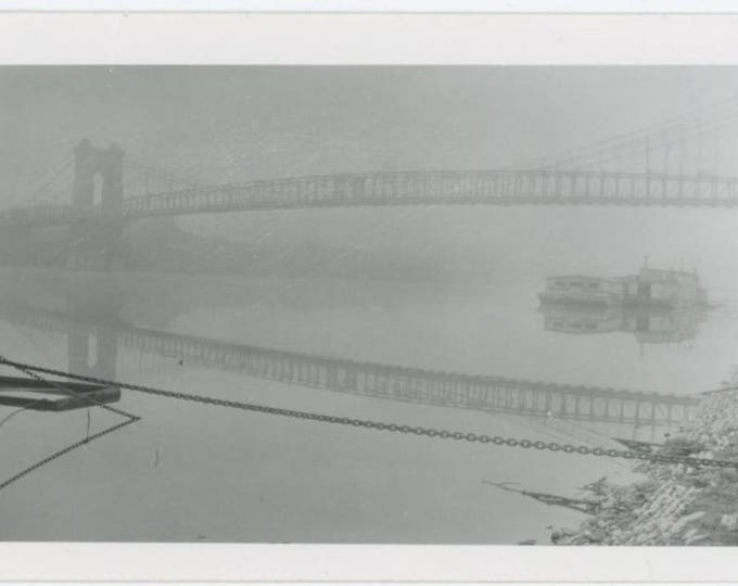 Bridge & Reflection Over Foggy River: Vintage Snapshot Photo (77593)