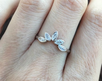 Unique Curved Marquise Diamond Wedding Band