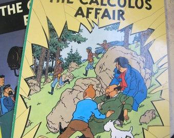TINTIN by Hergé 1970's Graphic Novels, Comic Books, Printed in Belgium, 2 Books: The Castafiori Emerald & The Calculus Affair. English Print