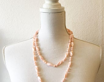 Vintage 1980s pink beaded necklace   Long one strand necklace 70s    Beaded necklace   Folk necklace   Light pink beaded necklace