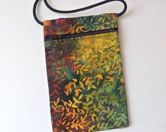 Pouch Zip Bag AUTUMN FALL BATIK Fabric. Small fabric Purse. Great for walkers, markets, travel. Cell Phone Pouch. small leaves sling bag.
