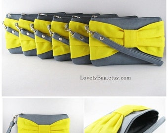 SUPER SALE - Set of 5 Bridesmaids Gift / Gray with Yellow Bow Clutches - Made To Order