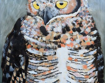 Large Scale painting on paper of Great Horned Owl by artist Natalie Jo Wright Acrylic on paper, metallic paint, contemporary art