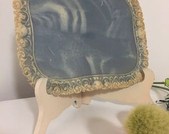 """VINTAGE INCOLAY STONE Blue Floral Tray, Dresser Tray, Incolay Stone, 12.75"""" x 10.5"""", Paris Apt, Regency, Victorian at Ageless Alchemy"""