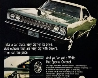 69 Dodge Coronet Green White Hard Top Hot Rod Legend Street Car Late 60s Iconic Classic Dodges Mopar parts 13 x 10.  Ready Frame