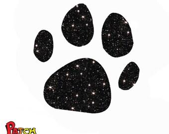 Glitter mini paw iron on patch 12 glittering colors 180