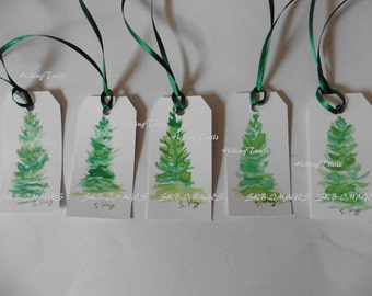 Gift Tags, Fir Trees, Watercolor tags, bookmarks, hand painted tags, handmade, miniature , Fine Art Watercolor by Sharon at HikingTrails