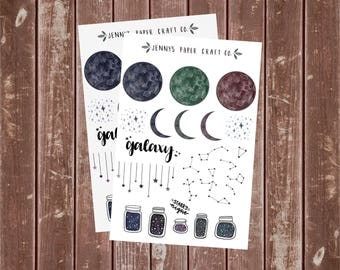 2-Pack Starry Nights Galaxy Constellation Stickers for Planner and Journal