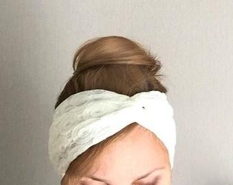 White lace twist headband turban stretch head band jersey knit head wrap retro cream lacey head covering wedding hair accessory headwrap