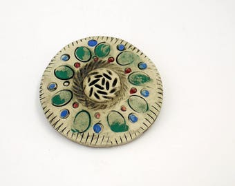 Ceramic earthenware brooch