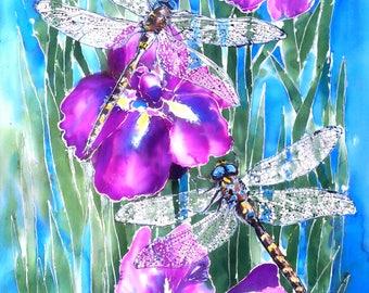DRAGONFLY and IRIS Outdoor Art Panel New Zealand Art, Dragonflies on Purple Iris, Print on Aluminum from original silk painting weatherproof