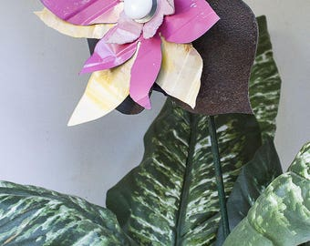 Recycled Metal Flower. Yard Art Garden Stake, Indoor Outdoor Wall Art. Rustic Folk Cottage Farmhouse Decor. Yellow Pink Rust. OOAK | 16-299