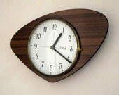French 1950-60s Atomic Age ODO Brown Formica Wall Clock - Boomerang Shape - Formica Wall Clock - Great Working Condition