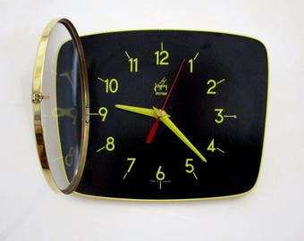 French 1950-60s Atomic Age JAPY Bright Yellow and Black Formica Wall Clock -  Funky Shape - Formica Wall Clock - Great Working Condition