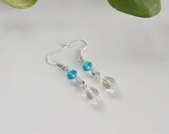 Turquoise Crystal Earrings, Women's Earrings, Turquiose Earrings, Clear Glass Earrings
