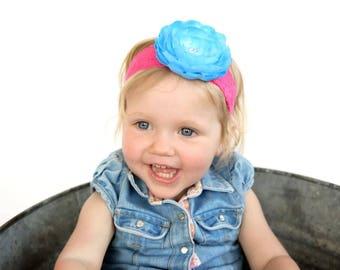 Baby Headband, Infant Headband, Newborn Headband, Pink and Aqua Headband, Bright Pink Headband, Aqua Headband, Pink and Aqua