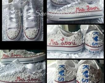 Custom Crystal Rhinestone and Pearl Bride Converse Wedding Shoes - Swarovski Crystals - Custom Wedding Shoes - Bride To Be