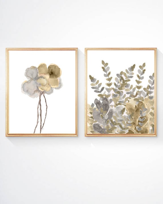 Gold and Silver Wall Decor, Set of 2-8x10 Watercolor Flower Prints