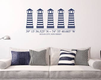 Lighthouses with customizable GPS Coordinates and town name Vinyl Wall Decal K681