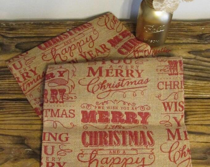 Christmas Table Runner, 110in Burlap Runner, Primitive Christmas Decor, Merry Christmas Burlap, Primitive Table Runner, Burlap Christmas