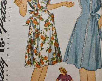 40s Apron Dress Pattern /40s Sewing Pattern/ Tieback/ Simplicity 4635 /Inverted Pleats/Bust 32