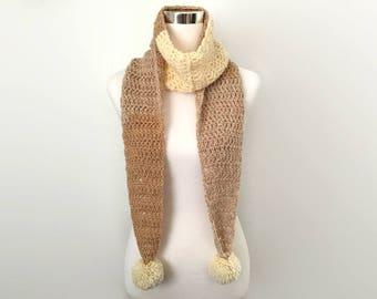 peanut butter crochet pom pom scarf