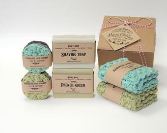 Men Soap. Washcloth. Face Scrubbies. Gifts for Men, Husband, Father, Brother, Boyfriend. Gift Box. Stocking Stuffer. Christmas Gift For Him,