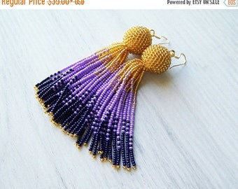15% SALE Tassel ombre earrings - Luxury beaded fringe earrings - long tassle earrings - Statement seed beads earrings - bridesmaid gifts ear