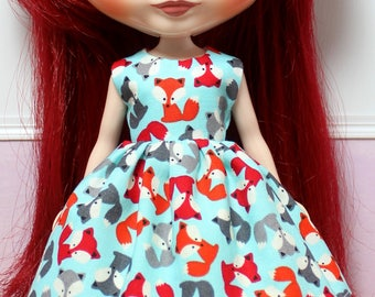BLYTHE doll Its my party dress - colorful foxes