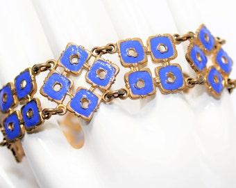 Blue Enamel Gold Coloured Squares Links Bracelet (c1930s)