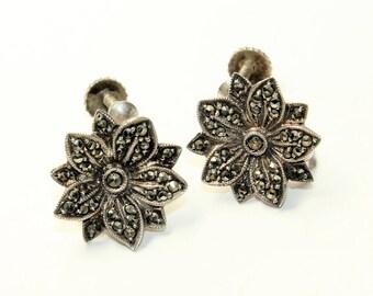 Sterling Silver Sparkly Marcasite Flower Vintage Screw Back Earrings (c1950s)