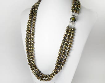 Layered Multi Strand Long Pearl Necklace Earth Tone Golden Bronze Green Luster Necklace Verde Natural Turquoise Clasp