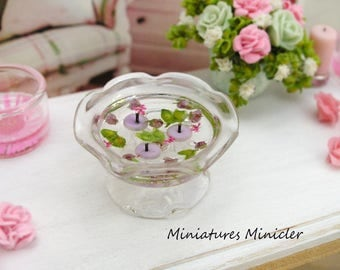 Miniature Dollhouse Floating Candles In The Glass Bowl