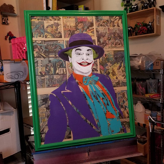 The Joker Pop Art Painting over Comic Book Pages