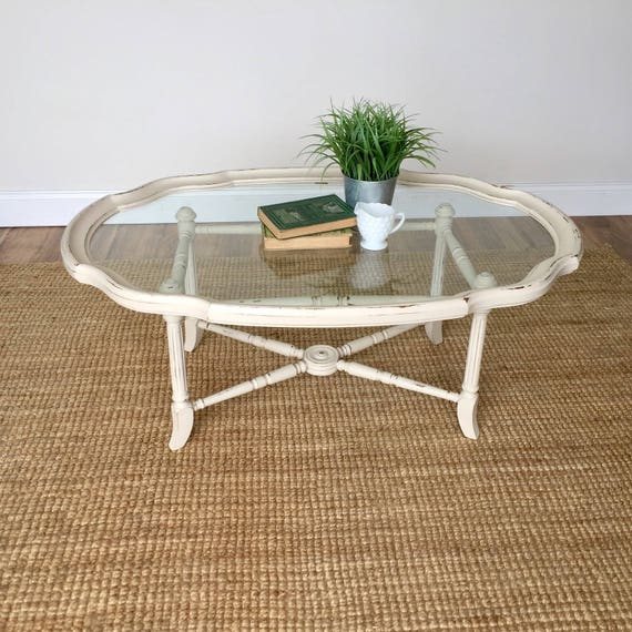 White Coffee Table - French Country Furniture - Glass Top Coffee Table - Distressed Furniture - Antique Coffee Table, Country Chic Furniture