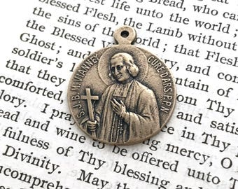 Sacred Heart of Jesus & St John Vianney Two Way Medal - Bronze - Religious Medal - Patron of Priests - Ordination Gift - Seminarians (M-384)