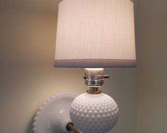 Hobnail Milk Glass Wall Lamp/ Wall Sconce – Shade Included
