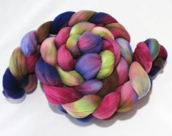 4oz Targhee 'Water Garden' Combed Top Spinning Fiber Roving Spinning Fibre Dyed Wool Batt