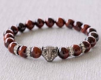 Power bead bracelet for women Red tiger eye bracelet Yoga bracelet Mala bracelet Tiger eye mala Healing bracelet for Good luck & vitality