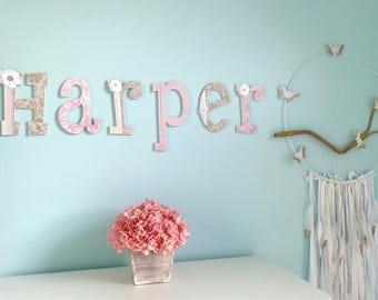 Wooden Nursery Letters - Baby Girl Nursery Decor- Wall Letters, Personalized Baby Shower Gift-The Rugged Pearl