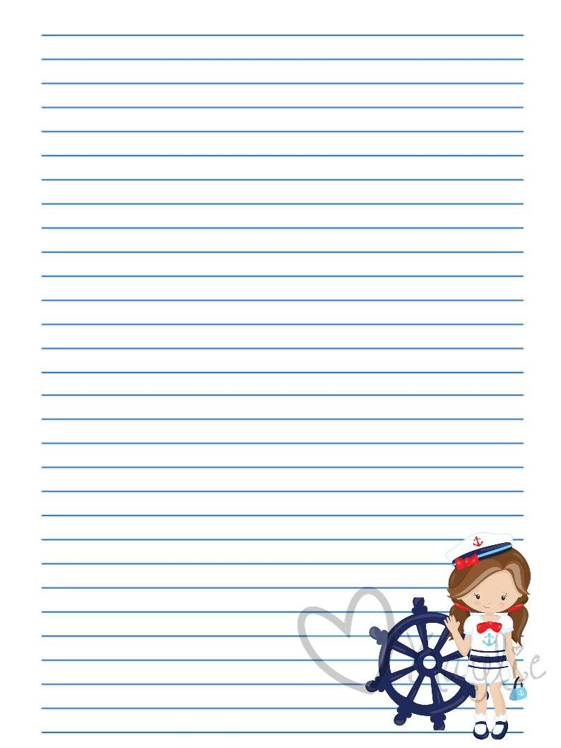 Printable Stationery Nautical Sailor Girl   Writing Paper   Letter ...