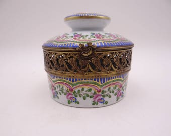 Large Vintage Limoges Hand Painted Pink Rose Jewelry Box or Trinket Box